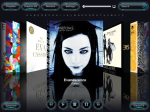 Cover Flow for the iPad on Reflection Music Player